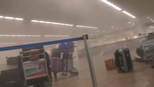 Aftermath of explosion in departure lounge