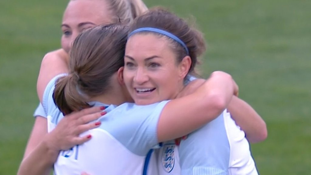 England v France: Jodie Taylor scores England's third goal