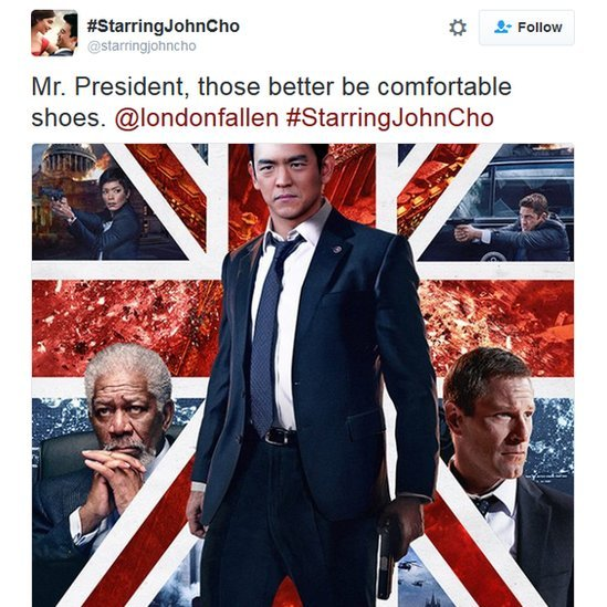 John Cho as the lead character in London Has Fallen movie poster