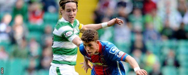Celtic's Stefan Johansen and Inverness Caledonian Thistle's Ryan Christie