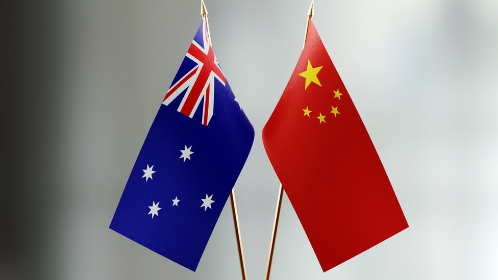 The flags of Australia and China