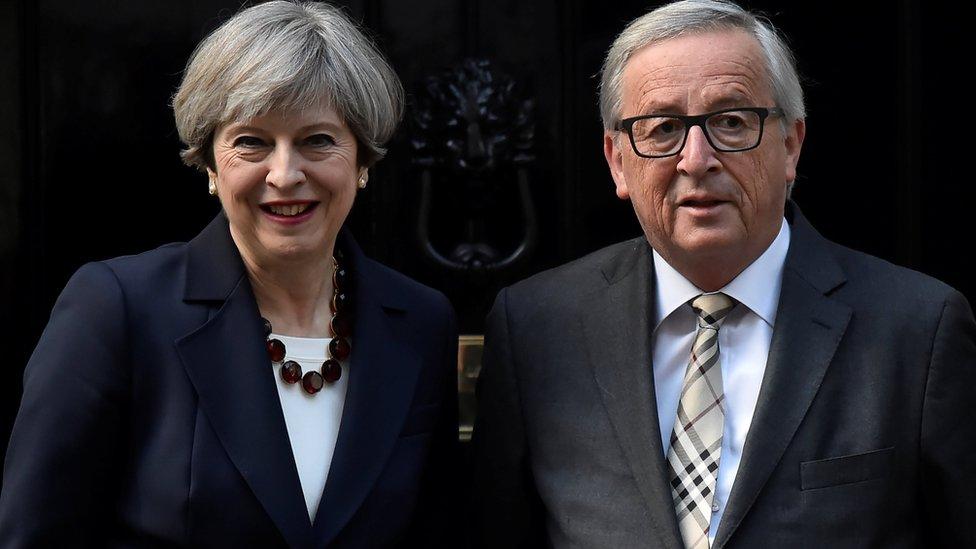 英國首相特雷莎梅和歐盟委員會主席克洛德·容克