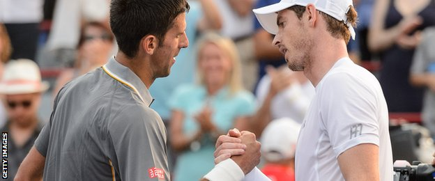 Djokovic (left) leads Murray 19-9 in their career head-to-head record