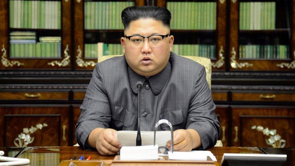 Kim Jong-un leyendo su comunicado el 22 de septiembre de 2017.