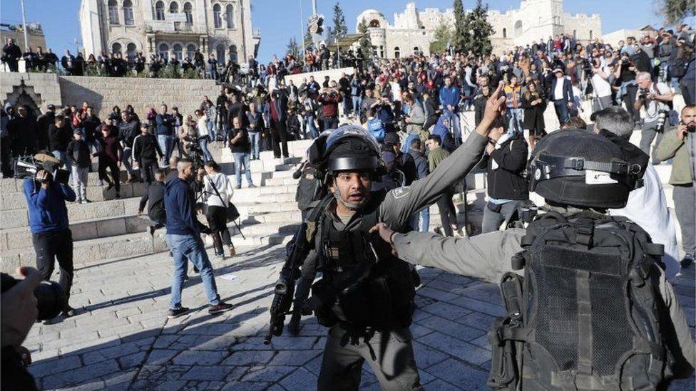 Policías israelíes en el este de Jerusalén.