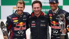 Sebastian Vettel, Christian Horner and Mark Webber