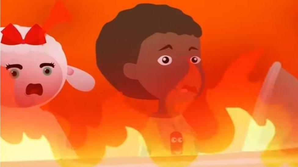 Dibujo de una oveja y un niño en llamas