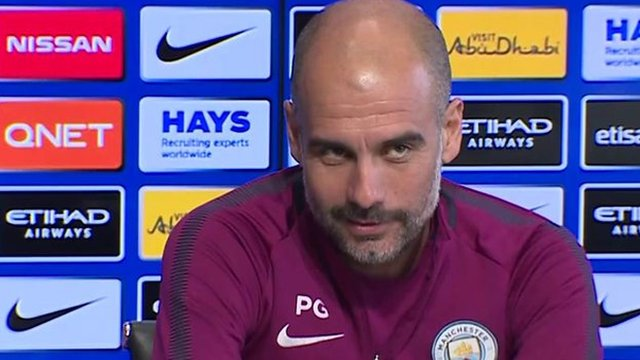Manchester City boss Pep Guardiola entertains the media with injury guessing game