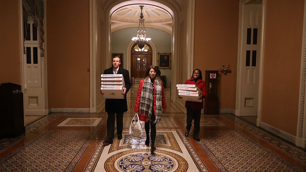 Cajas con pizzas en el congreso de EE.UU.
