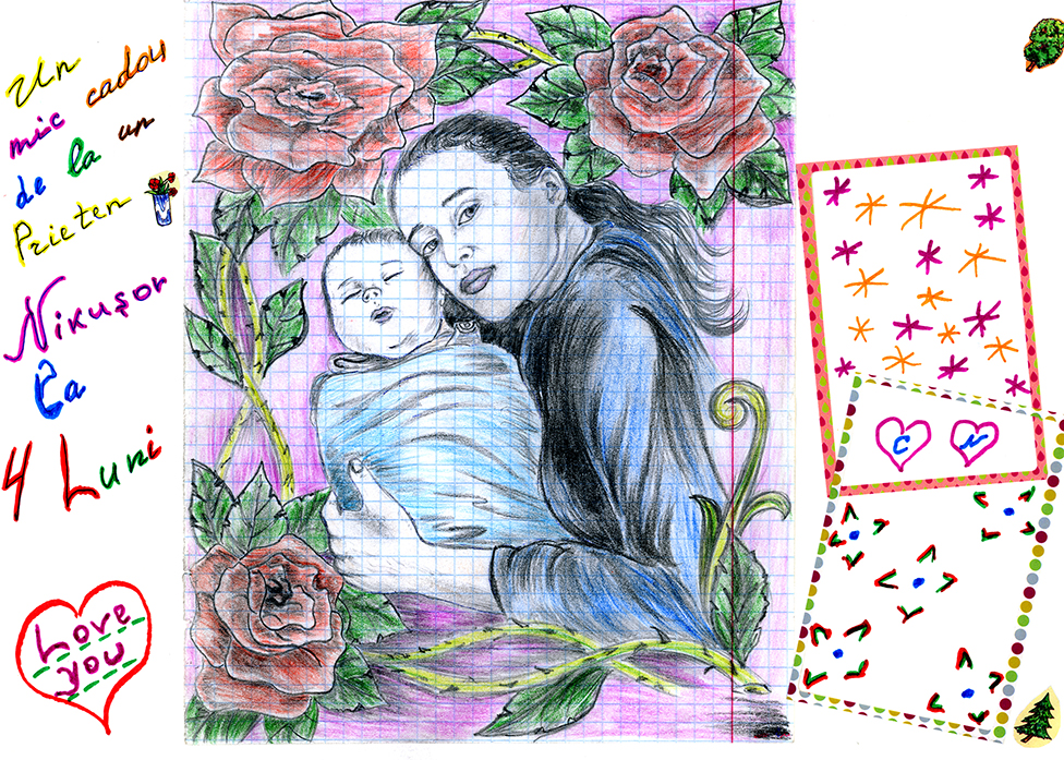 A sketch of a mother and baby