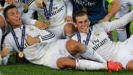 Christiano Ronaldo and Gareth Bale celebrate their 2014 Super Cup win in Cardiff