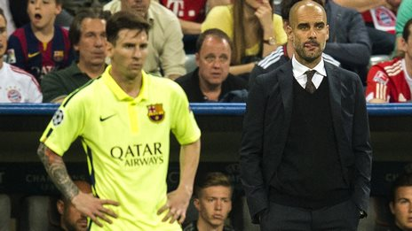 Lionel Messi and Pep Guardiola.