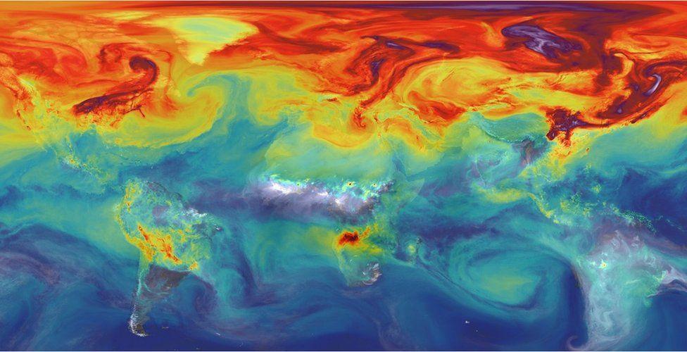 Mapa que rastrea las emisiones de CO2. (Crédito: NASA-JPL)