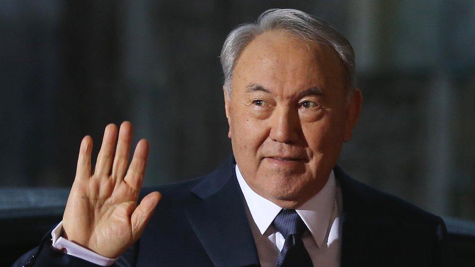 Kazakh President Nursultan Nazarbayev visits Germany in January 2015.