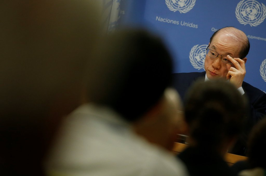 """China""""s Ambassador to the United Nations Liu Jieyi speaks at a news conference at U.N. Headquarters in New York City, New York, U.S. July 31, 2017. REUTERS/Carlo Allegri"""