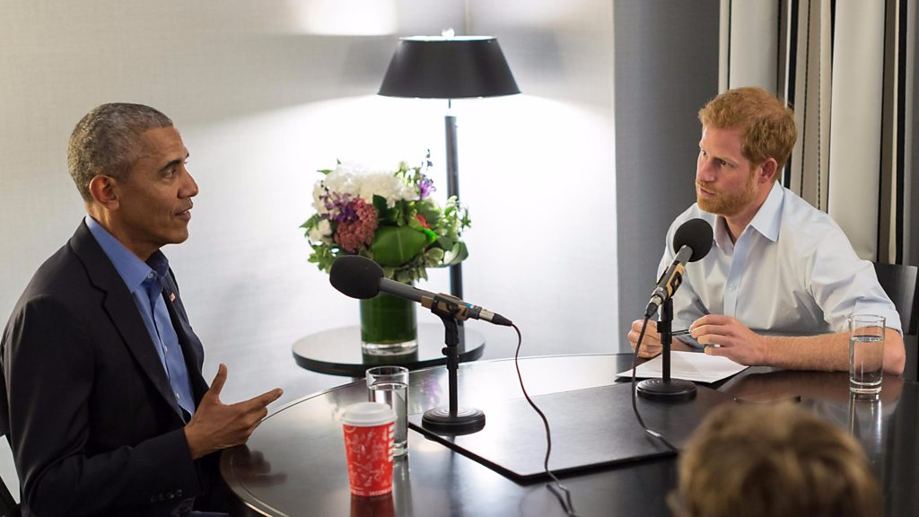 Barack Obama prepares for his Today programme interview with Prince Harry
