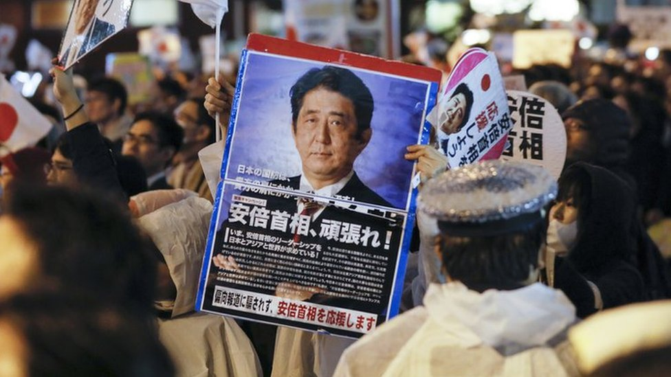 Abe on course for resounding victory in Japan, exit polls say