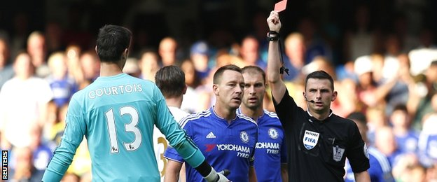 Thibaut Courtois is sent off for bringing down Bafetimbi Gomis