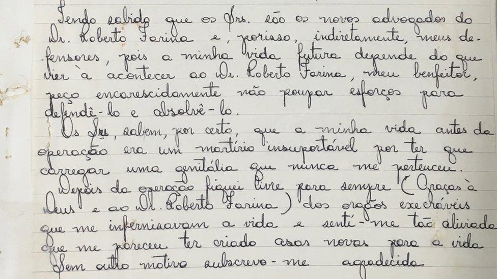 Carta manuscrita de Waldirene a los abogados de Farina, en 1978. Foto: BBC Brasil.