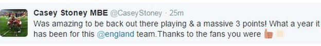 Casey Stoney tweet