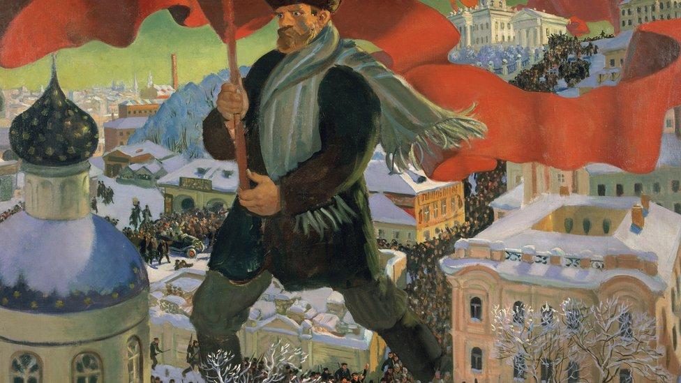 """Bolchevique"", de Boris Mikailovich Kustodiev (1920). Óleo sobre tela. Crédito: Royal Academy of Arts"