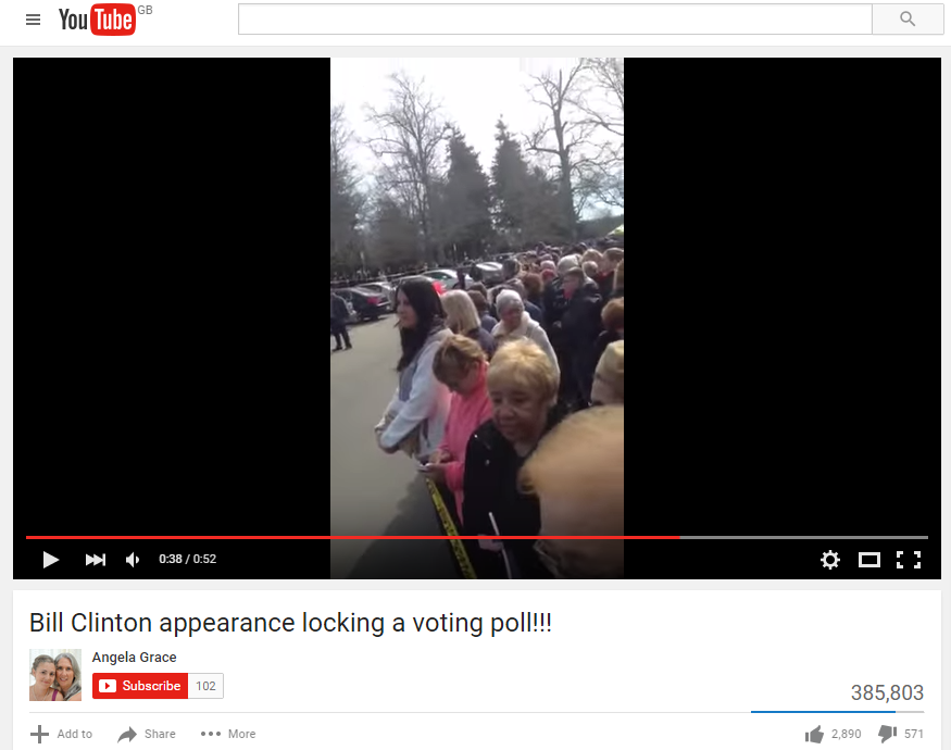 One YouTube video showed long lines at the polling place visited by the former president