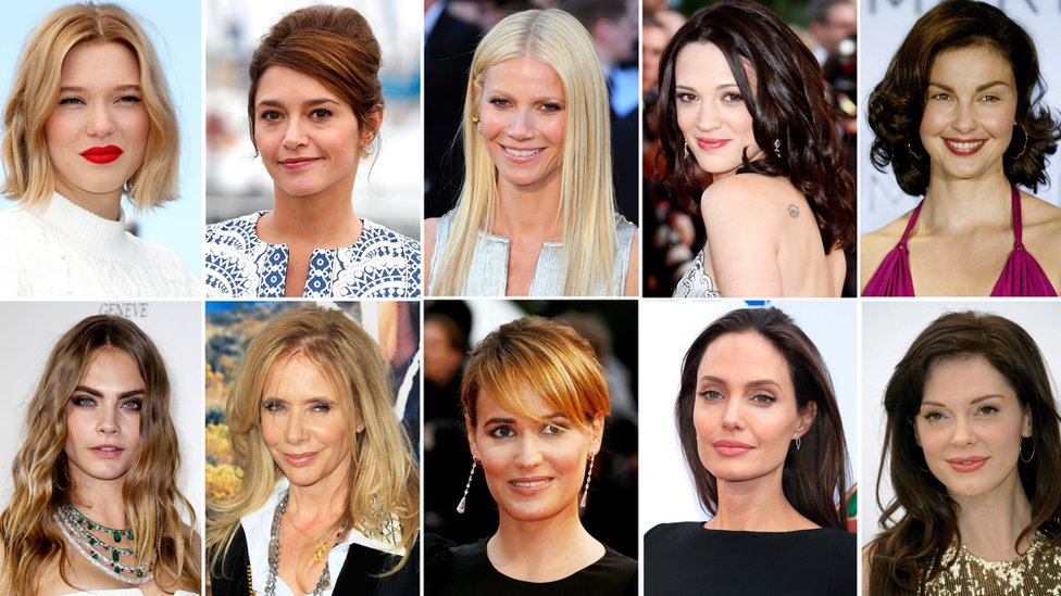 Lea Seydoux, Emma de Caunes, Gwyneth Paltrow, Asia Argento, Ashley Judd, Cara Delevingne, Rosanna Arquette, Judith Godreche, Angelina Jolie y Rose McGowan