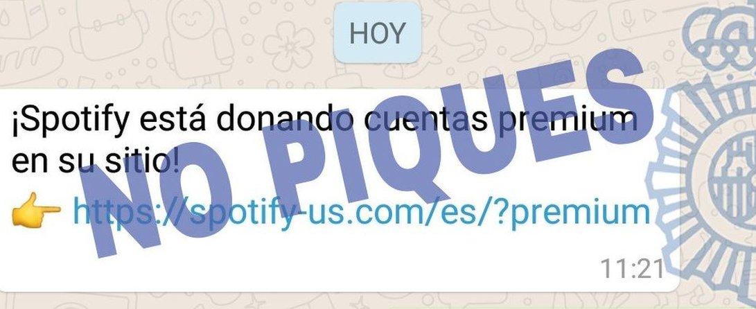 Mensaje de WhatsApp de la Policía Nacional española