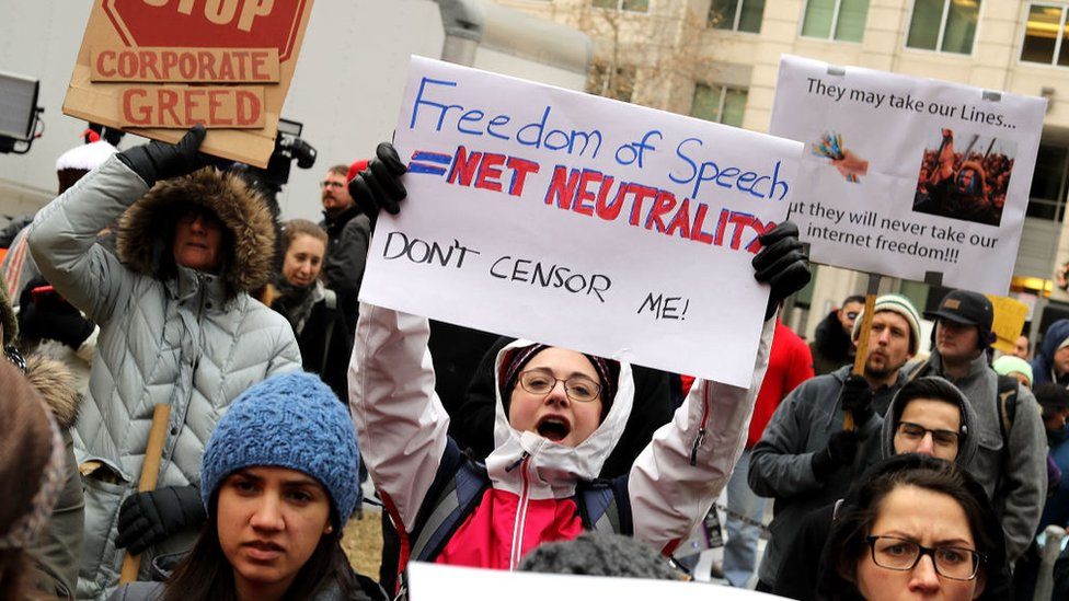 Protesta a favor de la neutralidad de internet