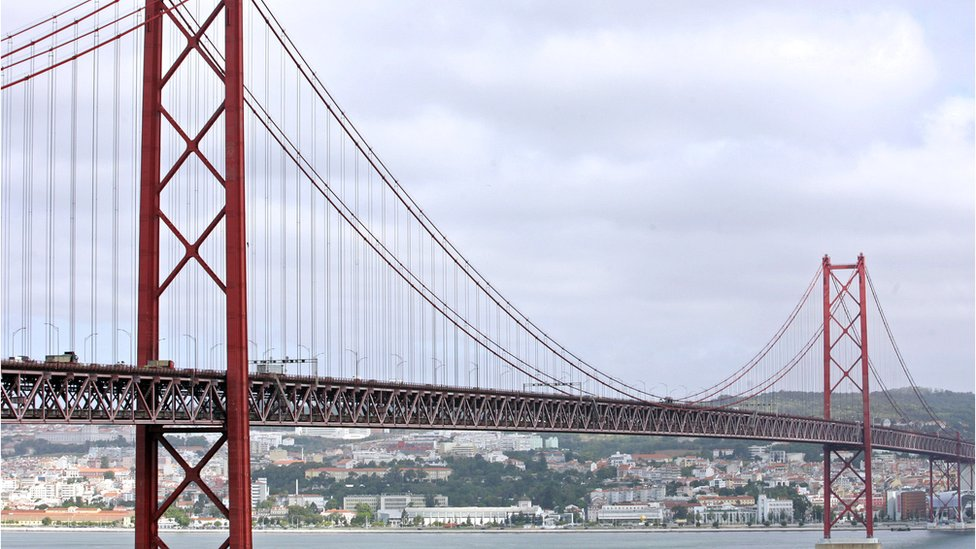 25th of April Bridge over the Tagus River, Lisbon.