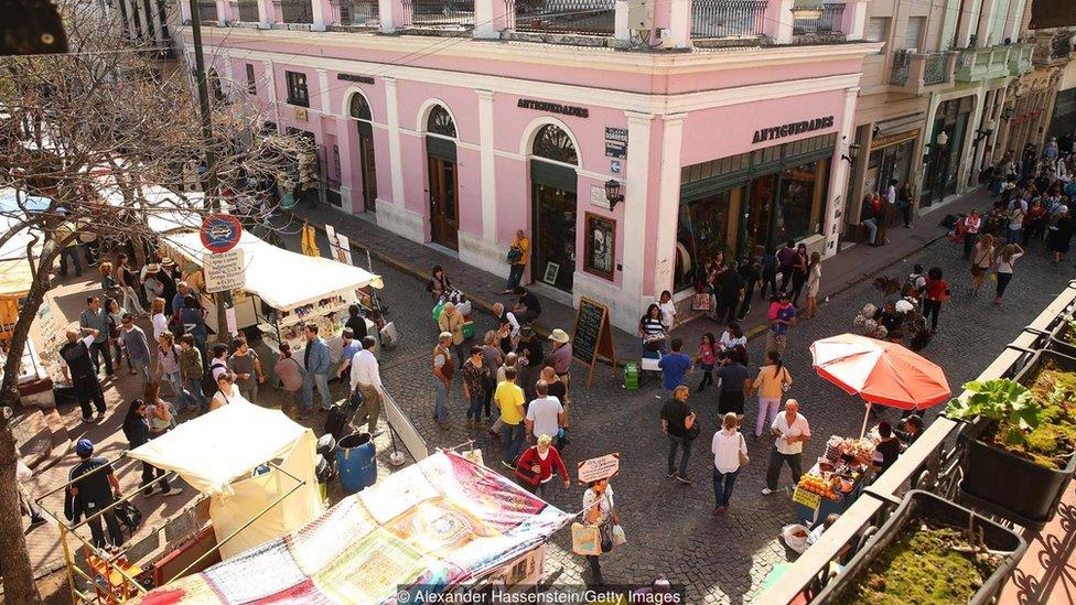 Vista de las calles del barrio porteño de San Telmo