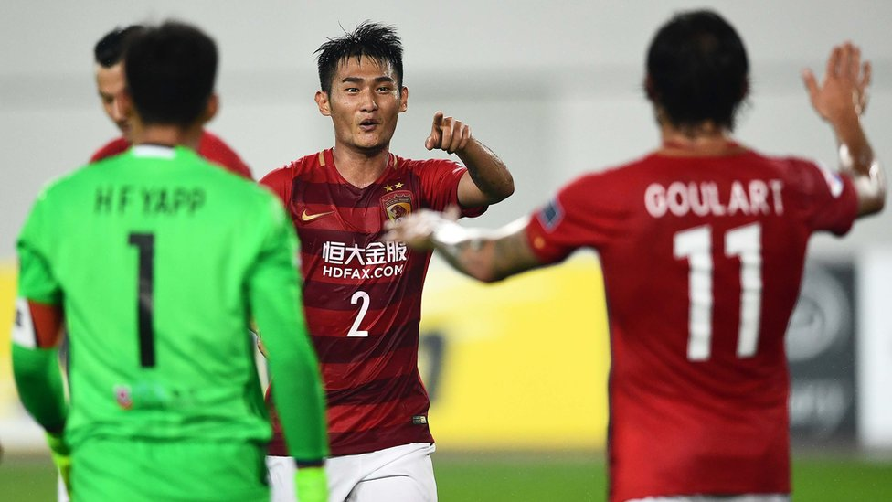 Jugadores del Guangzhou celebran
