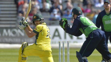 Australia batsman Joe Burns watches as Niall O'Brien attempts a stumping