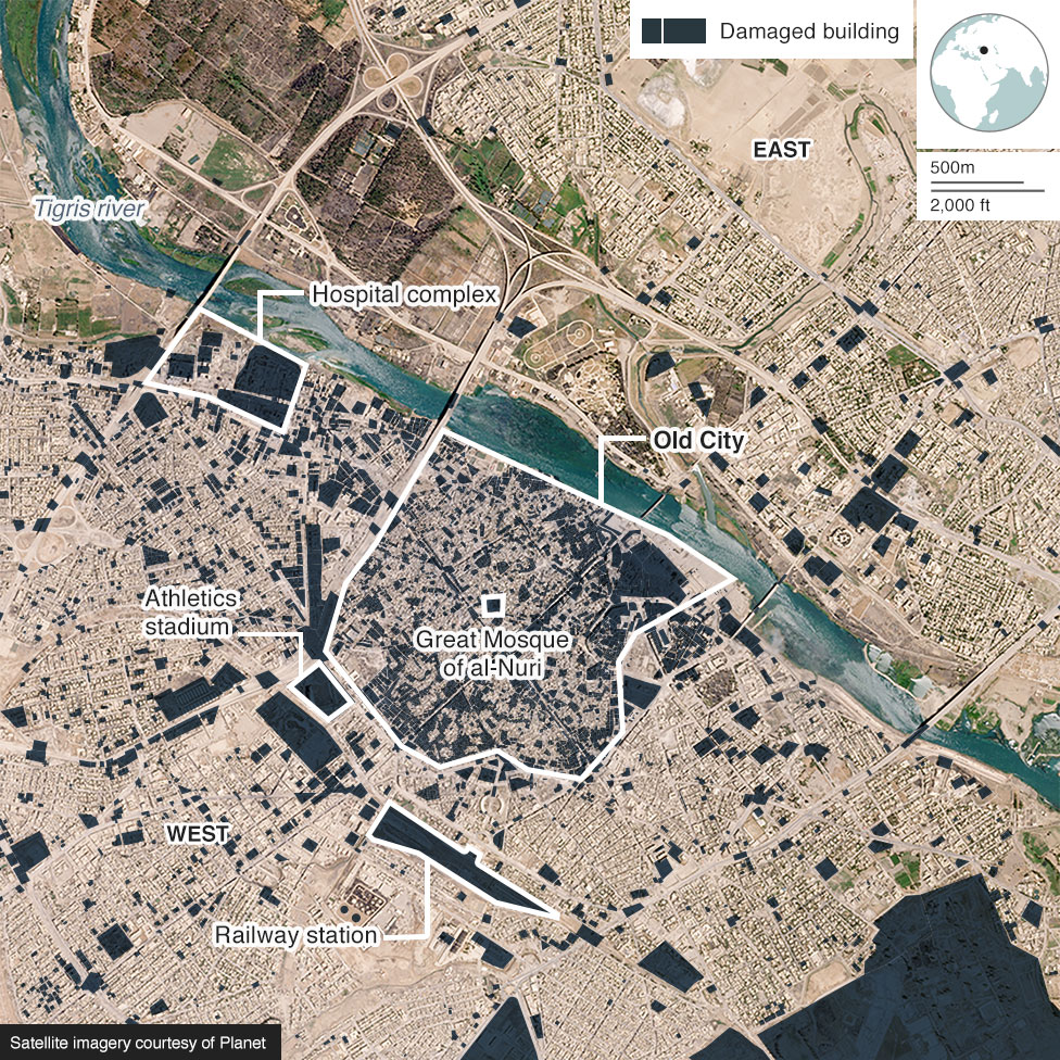 Satellite image showing building damage in Mosul in July 2017