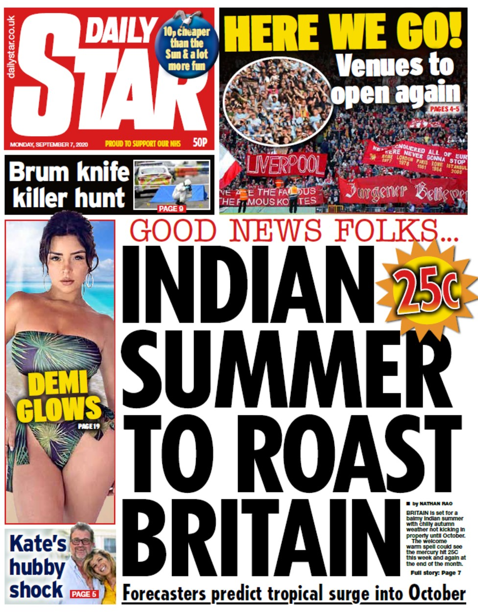 Daily Star front page, 7/9/20