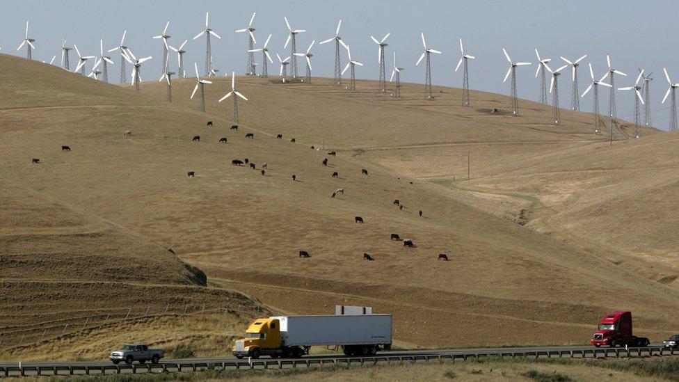 La energía eólica también contribuye al exceso de generación de energía en California.