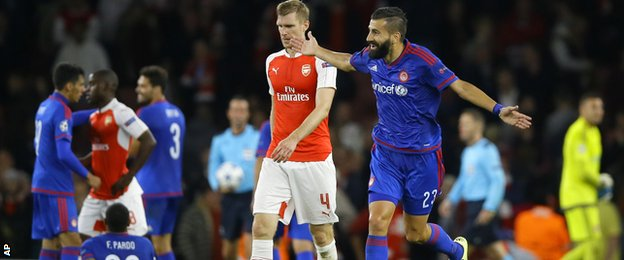 Arsenal lost to Olympiakos on Tuesday