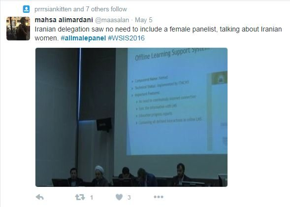 Iranian delegation had no female panelists in a conversation about women
