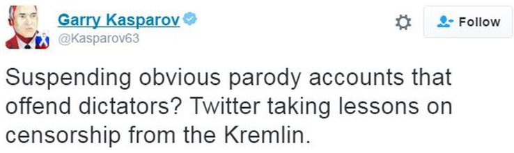 "Garry Kasparov, tweet accusing Twitter of ""taking lessons on censorship from the Kremlin"""