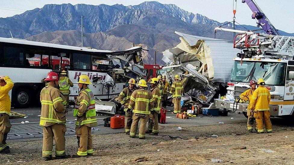 Thirteen die in California tour bus crash