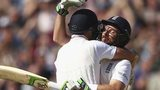 Ian Bell celebrates with Joe Root