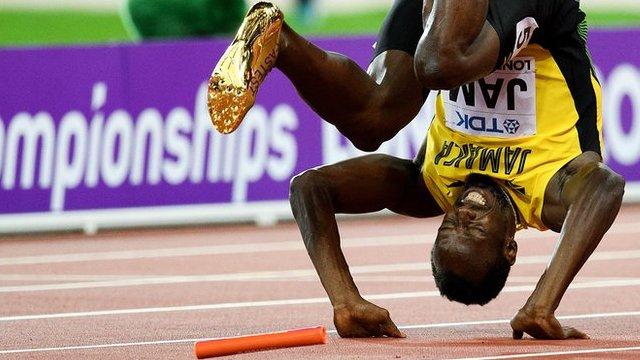 یوسین بولٹ کو آخری دوڑ میں خفت، برطانوی ٹیم کا طلائی تمغہ