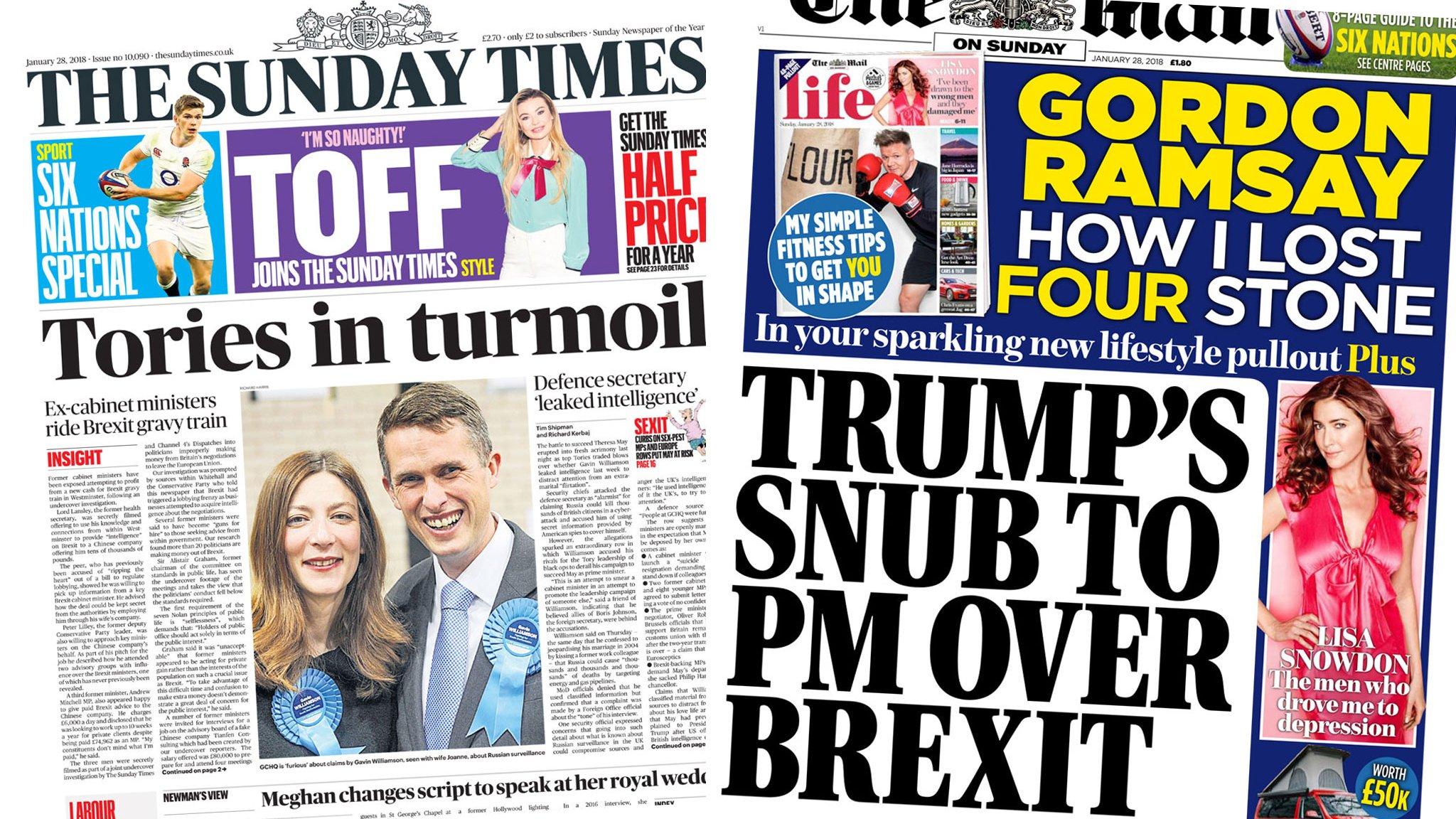 Newspaper headlines: 'Tories in turmoil' and Brexit ...