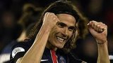 Edinson Cavani celebrates scoring for Paris St-Germain against Troyes