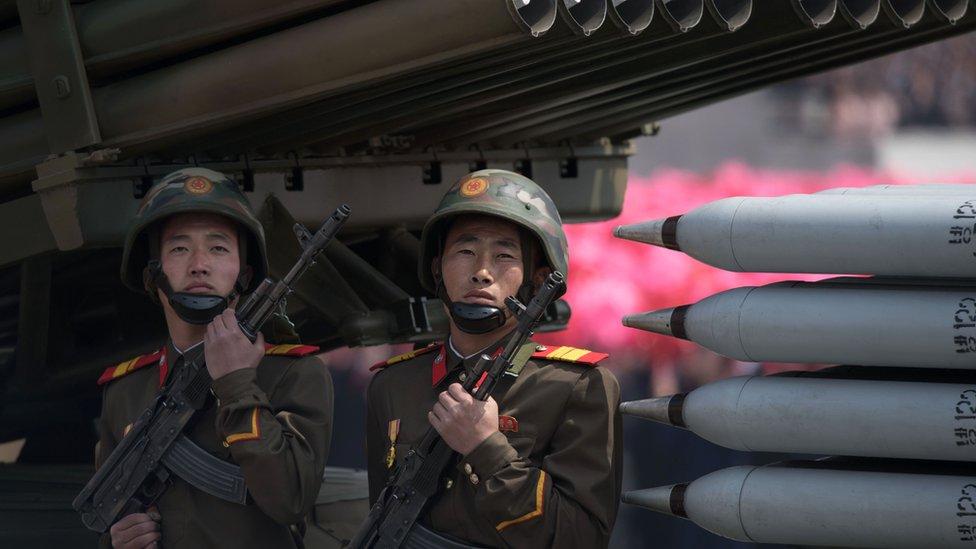 صواريخ في عرض عسكري كوري شمالي