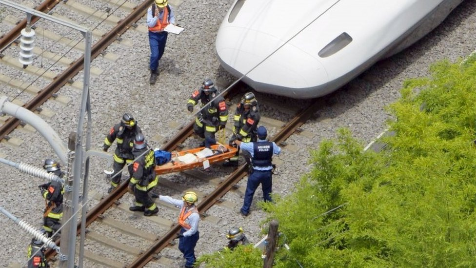 Two people are dead after one of them set himself on fire on a Japanese Shinkansen bullet train, public broadcaster NHK says.