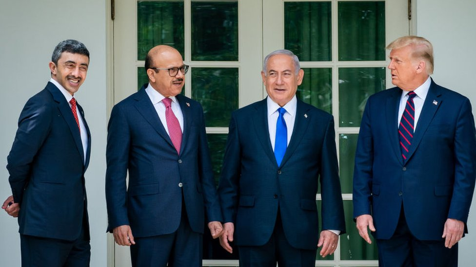 "Israeli Prime Minister Benjamin Netanyahu (2nd R), UAE Foreign Minister Abdullah bin Zayed Al Nahyan (L) and Bahrain Foreign Minister Abdullatif bin Rashid Al Zayani (2nd L) attend a signing ceremony for the agreements on ""normalization of relations"" reached between Israel, the United Arab Emirates (UAE) and Bahrain at the White House in Washington, United States on September 15, 2020"