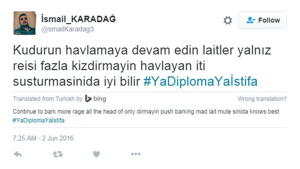 Erdogan defence tweet