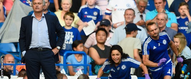 Jose Mourinho looks on as former club medic Eva Carneiro races to attend to injured Chelsea midfielder Eden Hazard