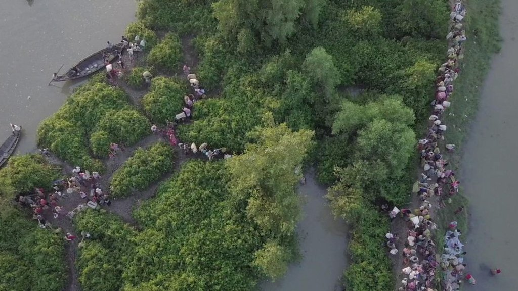 Rohingya crisis: Drone footage shows thousands fleeing